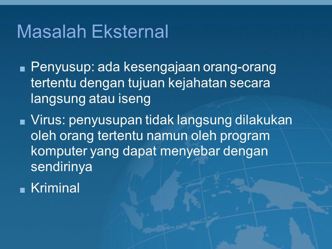Masalah Eksternal Penyusup: ada kesengajaan orang-orang tertentu dengan tujuan kejahatan secara langsung atau iseng Virus: penyusupan tidak langsung d