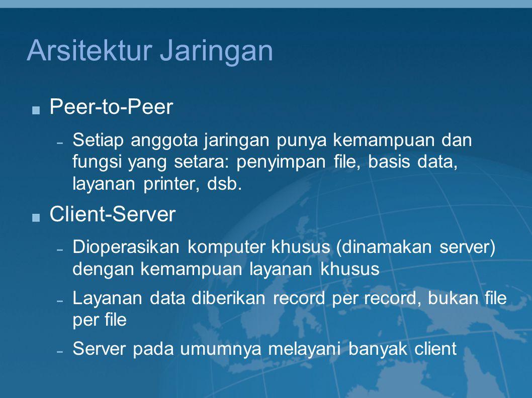 Arsitektur Jaringan Peer-to-Peer Setiap anggota jaringan punya kemampuan dan fungsi yang setara: penyimpan file, basis data, layanan printer, dsb. Cli