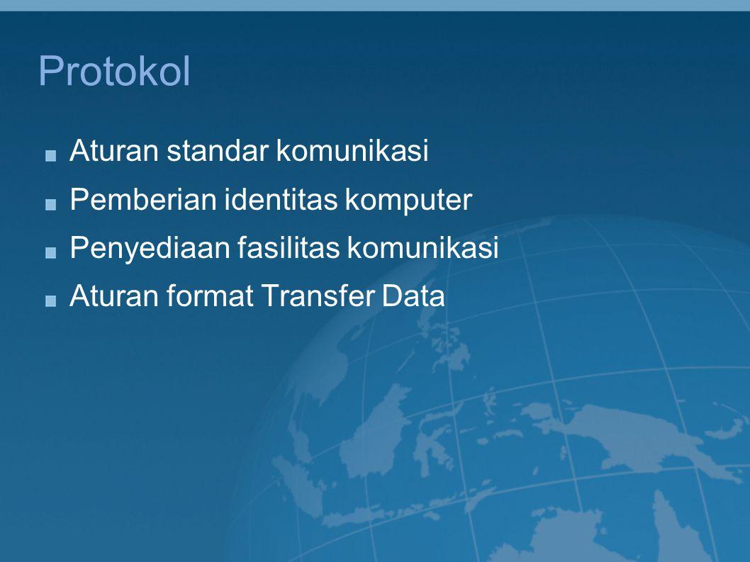 Fungsi Protokol Memfasilitasi koneksi antar komputer/peralatan komputer Singkronisasi transfer data Pengendalian Error dan Pemantauan kinerja jaringan Menjebatani kompatibilitas antar komputer/peralatan komputer Memungkinkan pengembangan jaringan dengan komponen dari banyak pihak