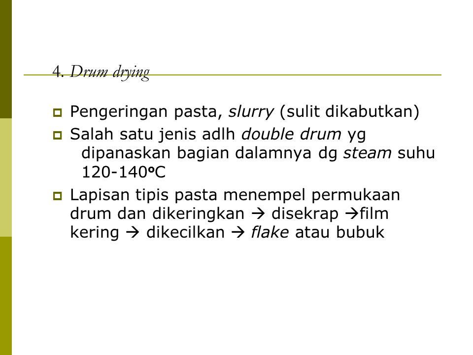 4. Drum drying  Pengeringan pasta, slurry (sulit dikabutkan)  Salah satu jenis adlh double drum yg dipanaskan bagian dalamnya dg steam suhu 120-140