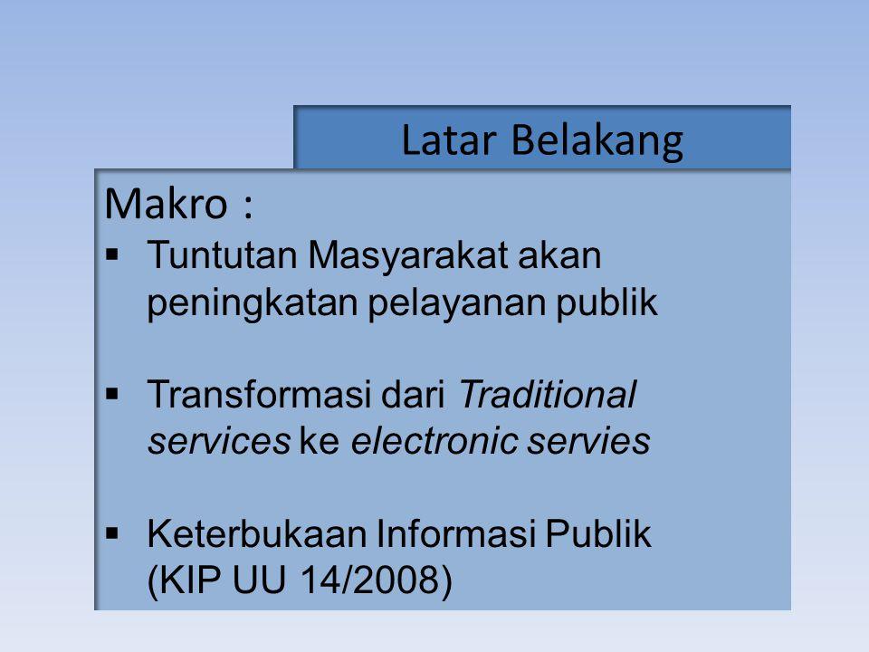 Latar Belakang Makro :  Tuntutan Masyarakat akan peningkatan pelayanan publik  Transformasi dari Traditional services ke electronic servies  Keterb