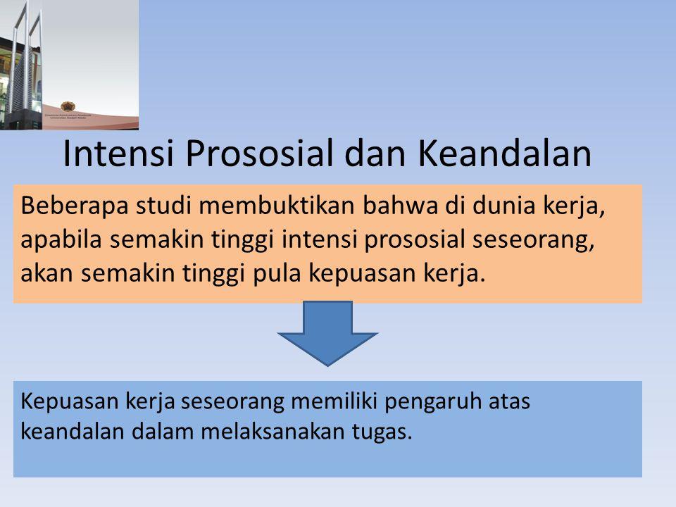 Intensi Prososial dan Keandalan Beberapa studi membuktikan bahwa di dunia kerja, apabila semakin tinggi intensi prososial seseorang, akan semakin ting