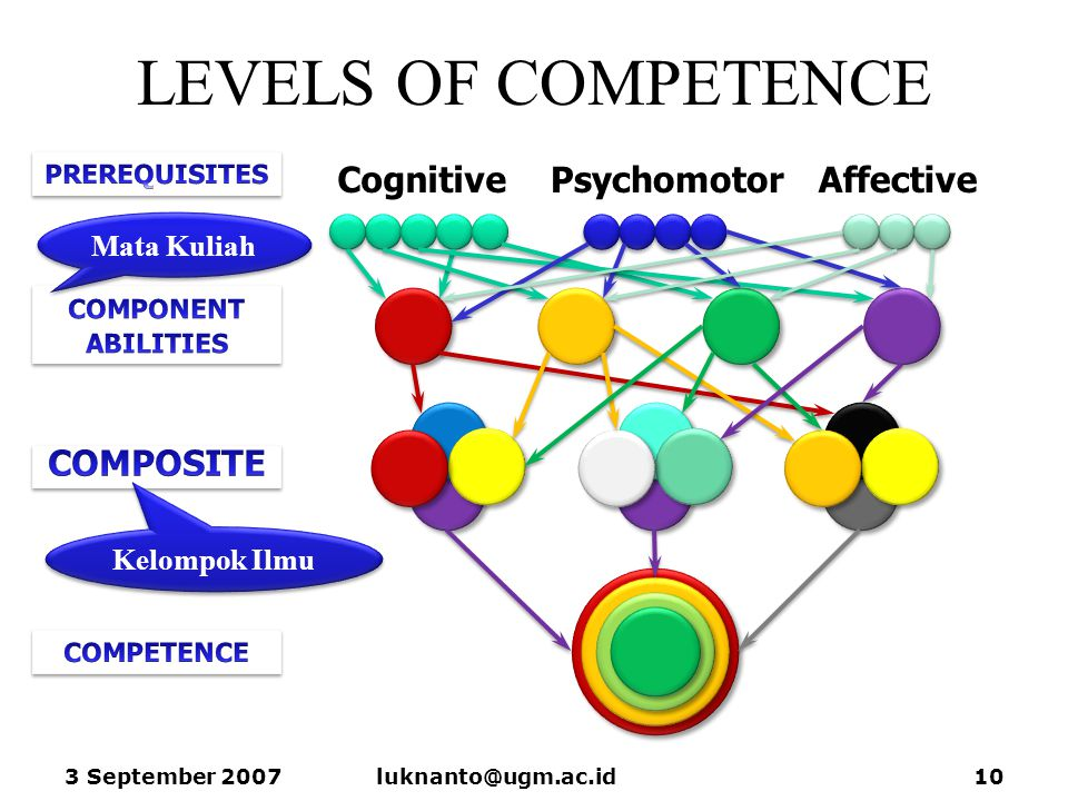 LEVELS OF COMPETENCE 3 September 2007luknanto@ugm.ac.id10 AffectiveCognitivePsychomotor Kelompok Ilmu Mata Kuliah