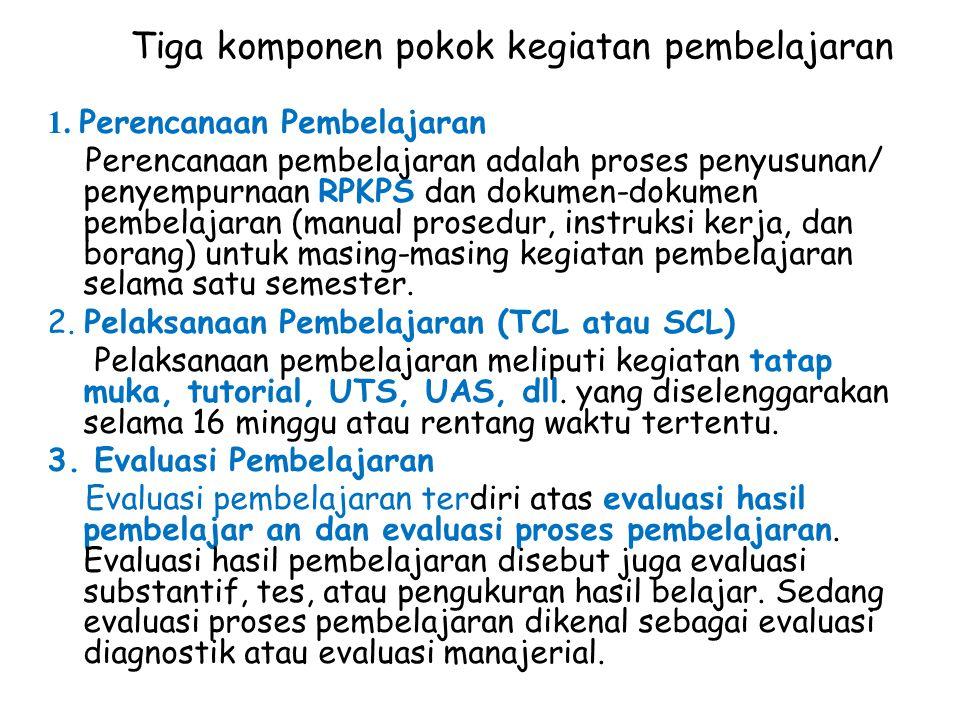 Tiga komponen pokok kegiatan pembelajaran 1. Perencanaan Pembelajaran Perencanaan pembelajaran adalah proses penyusunan/ penyempurnaan RPKPS dan dokum