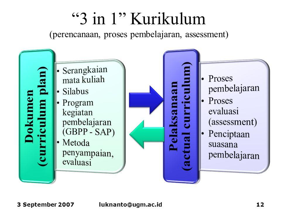 """""""3 in 1"""" Kurikulum (perencanaan, proses pembelajaran, assessment) 3 September 2007luknanto@ugm.ac.id12"""