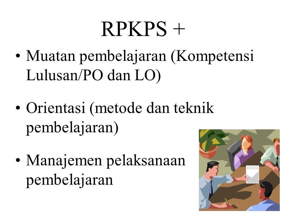 RPKPS + Muatan pembelajaran (Kompetensi Lulusan/PO dan LO) Orientasi (metode dan teknik pembelajaran) Manajemen pelaksanaan pembelajaran