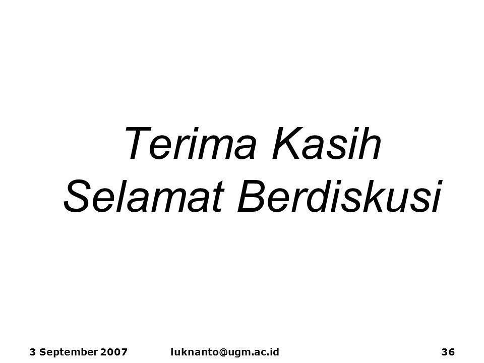 Terima Kasih Selamat Berdiskusi 3 September 2007luknanto@ugm.ac.id36