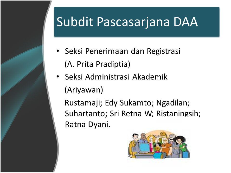Penerimaan & Registrasi Penerimaan mahasiswa baru pascasarjana - Pendaftaran - Tes (ujian masuk) - Registrasi - Verifikasi (BPPS, BU, SK 130) Tes rutin AcEPT & PAPs