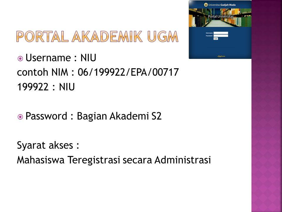  Username : NIU contoh NIM : 06/199922/EPA/00717 199922 : NIU  Password : Bagian Akademi S2 Syarat akses : Mahasiswa Teregistrasi secara Administras