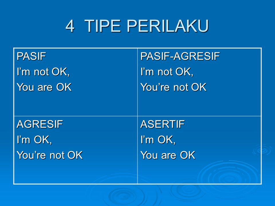 PERILAKU PASIF  Perilaku tidak spontan/ jujur  I'm not OK (meremehkan diri)  You are OK (menghargai orang lain)  Solusi  win-loose  Ekspresi wajah tidak berani menatap  Tubuh tidak tegap  Tangan sering kali diremas-remas  Tekanan suara lemah