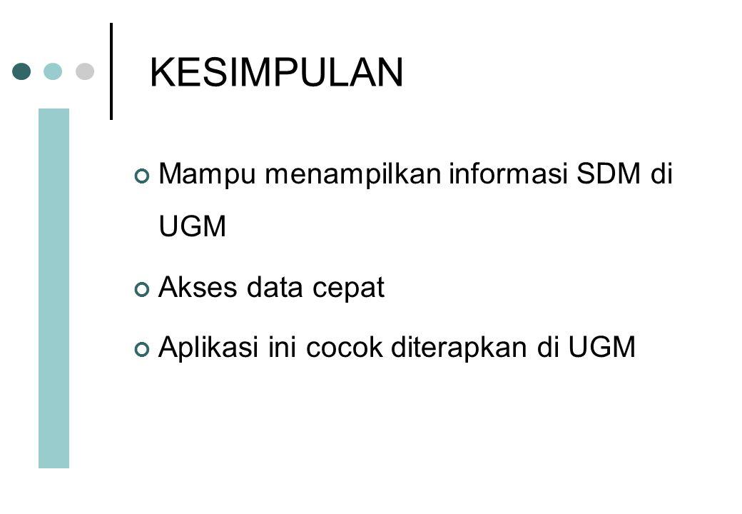KESIMPULAN Mampu menampilkan informasi SDM di UGM Akses data cepat Aplikasi ini cocok diterapkan di UGM