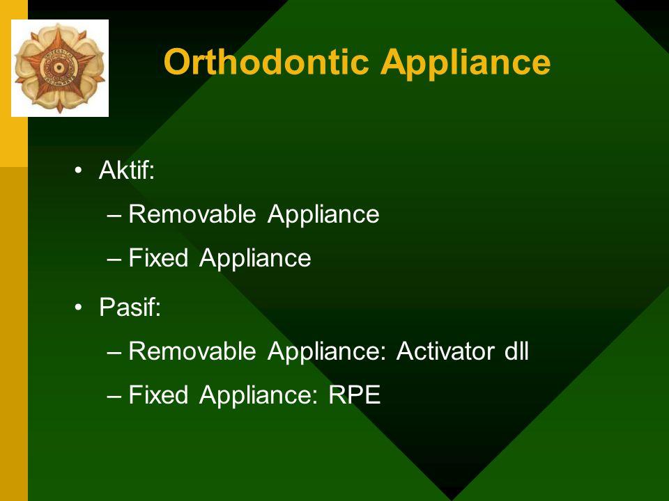 Orthodontic Appliance Masa Pertumbuhan: : Kl II skeletal: Defisiensi pertumbuhan mandibula: Aktivator Prognasi maxilla : Head Gear Kombinasi keduanya