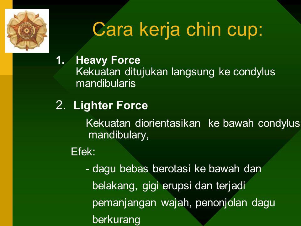 Perawatan - Kekuatan Extra Oral:Chin Cup pada dagu - Alat Fungsional: Construction Bite -Cara kerja chin cup: 1. Heavy Force 2. Lighter Force