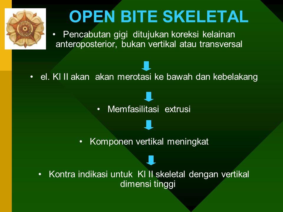Open bite skeletal Kl II dengan tinggi muka panjang : –Muka yang panjang, belum tentu karena kompensasi erupsi gigi atas dan bawah kombinasi Head Gear