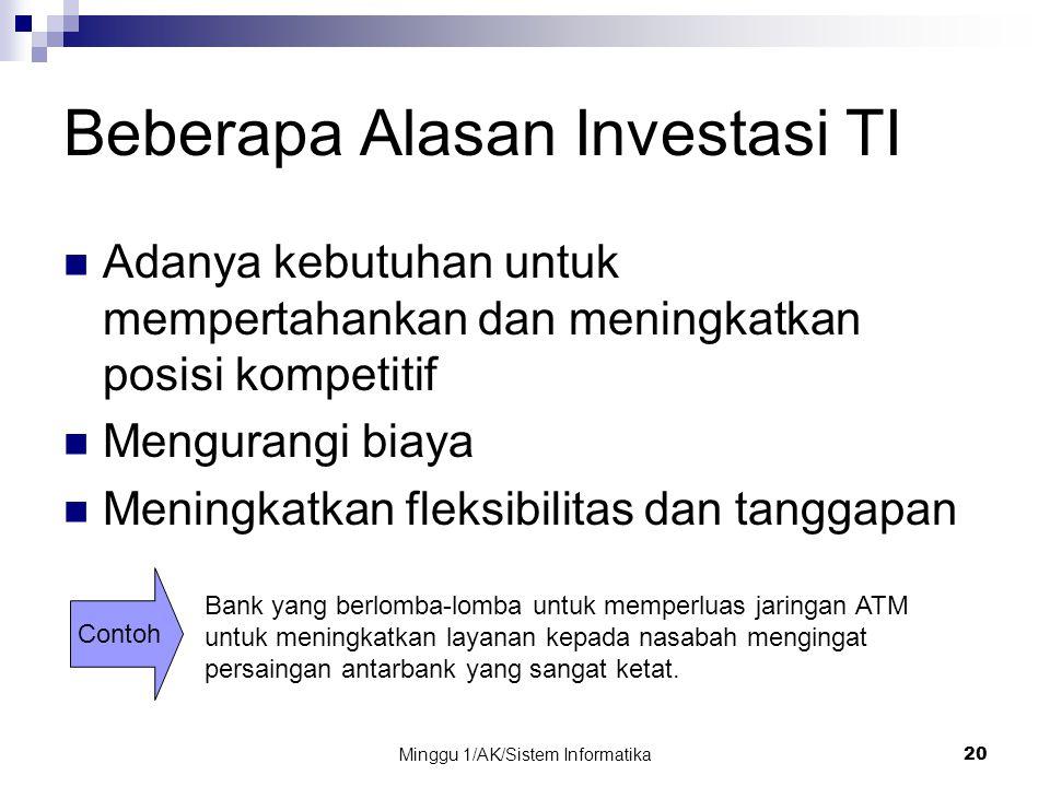 Minggu 1/AK/Sistem Informatika20 Beberapa Alasan Investasi TI Adanya kebutuhan untuk mempertahankan dan meningkatkan posisi kompetitif Mengurangi biay