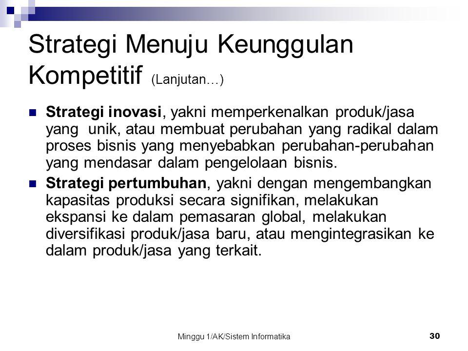 Minggu 1/AK/Sistem Informatika30 Strategi Menuju Keunggulan Kompetitif (Lanjutan…) Strategi inovasi, yakni memperkenalkan produk/jasa yang unik, atau