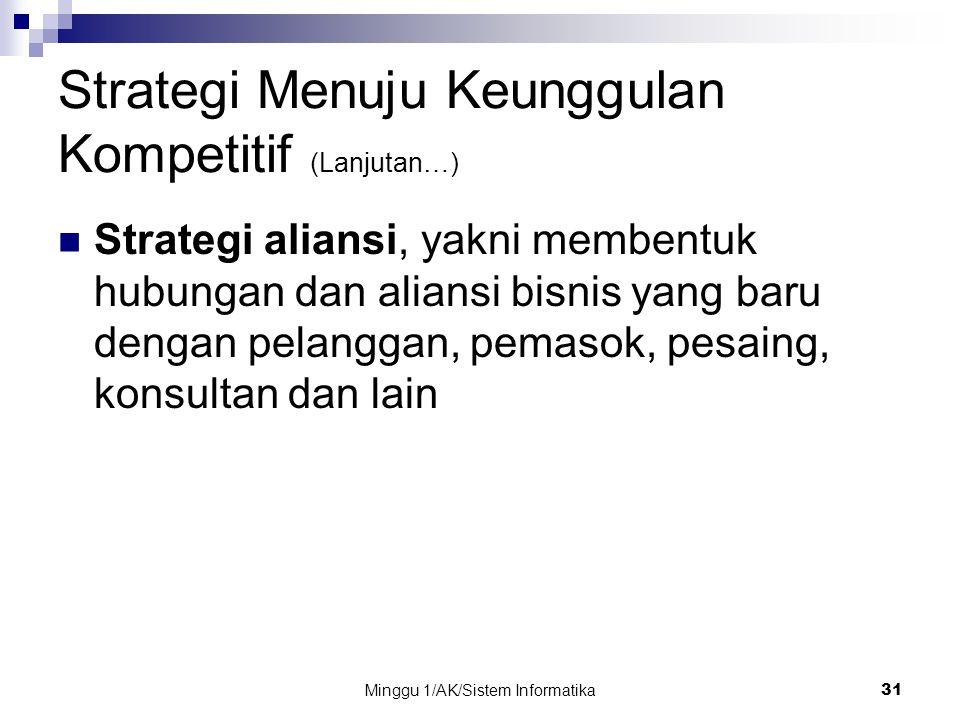 Minggu 1/AK/Sistem Informatika31 Strategi Menuju Keunggulan Kompetitif (Lanjutan…) Strategi aliansi, yakni membentuk hubungan dan aliansi bisnis yang