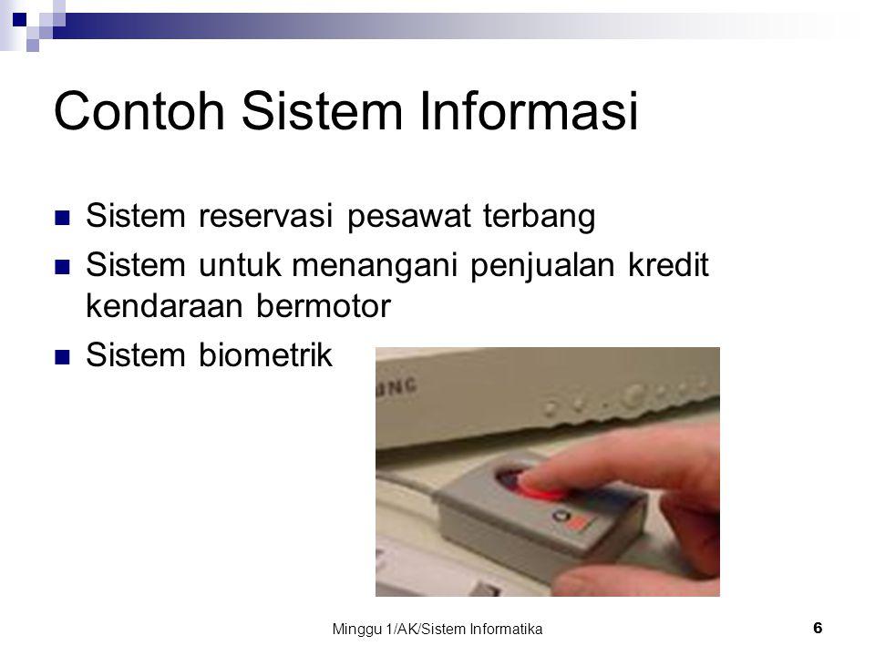 Minggu 1/AK/Sistem Informatika6 Contoh Sistem Informasi Sistem reservasi pesawat terbang Sistem untuk menangani penjualan kredit kendaraan bermotor Si
