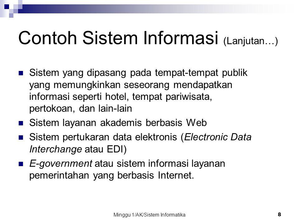 Minggu 1/AK/Sistem Informatika8 Contoh Sistem Informasi (Lanjutan…) Sistem yang dipasang pada tempat-tempat publik yang memungkinkan seseorang mendapa