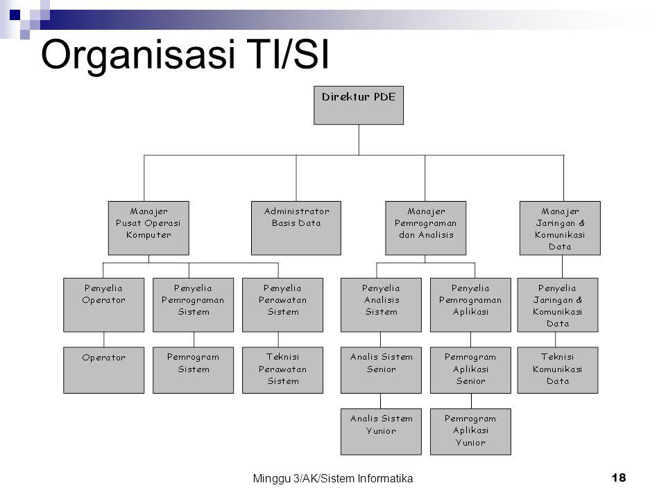 Minggu 3/AK/Sistem Informatika18 Organisasi TI/SI