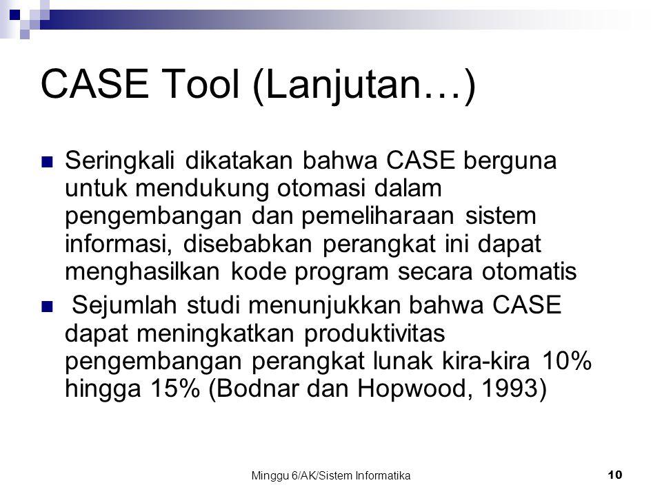 Minggu 6/AK/Sistem Informatika10 CASE Tool (Lanjutan…) Seringkali dikatakan bahwa CASE berguna untuk mendukung otomasi dalam pengembangan dan pemeliha
