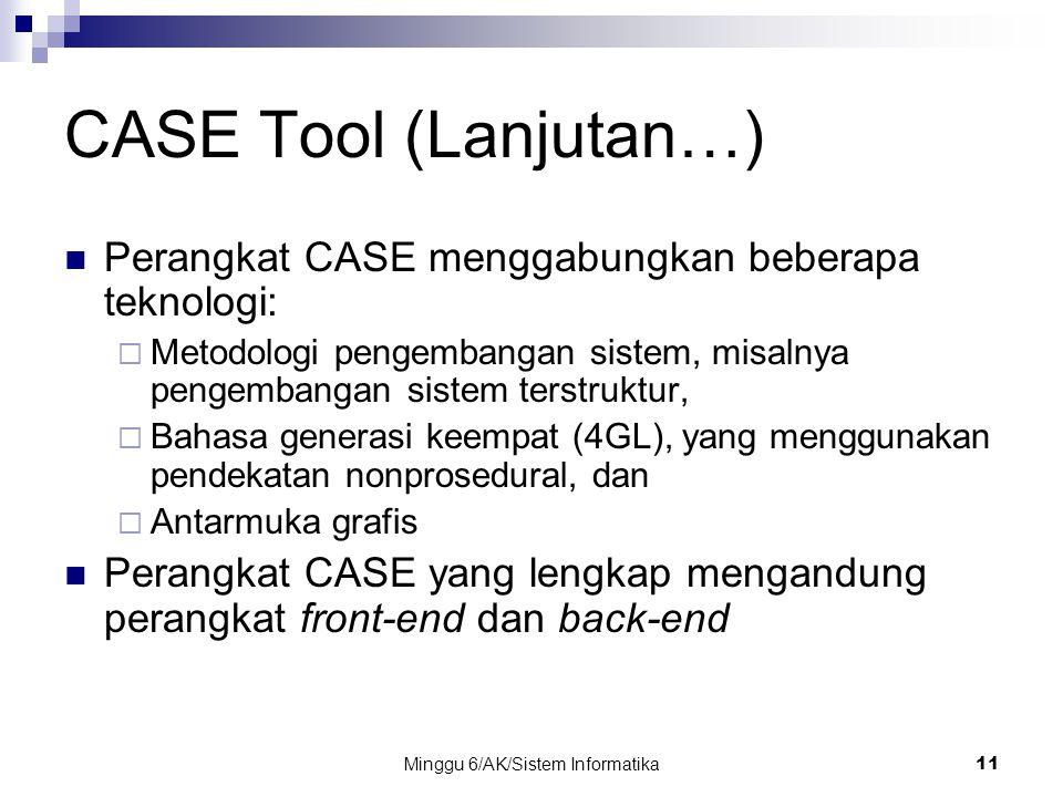 Minggu 6/AK/Sistem Informatika11 CASE Tool (Lanjutan…) Perangkat CASE menggabungkan beberapa teknologi:  Metodologi pengembangan sistem, misalnya pen