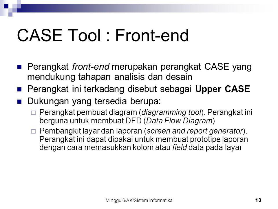 Minggu 6/AK/Sistem Informatika13 CASE Tool : Front-end Perangkat front-end merupakan perangkat CASE yang mendukung tahapan analisis dan desain Perangk