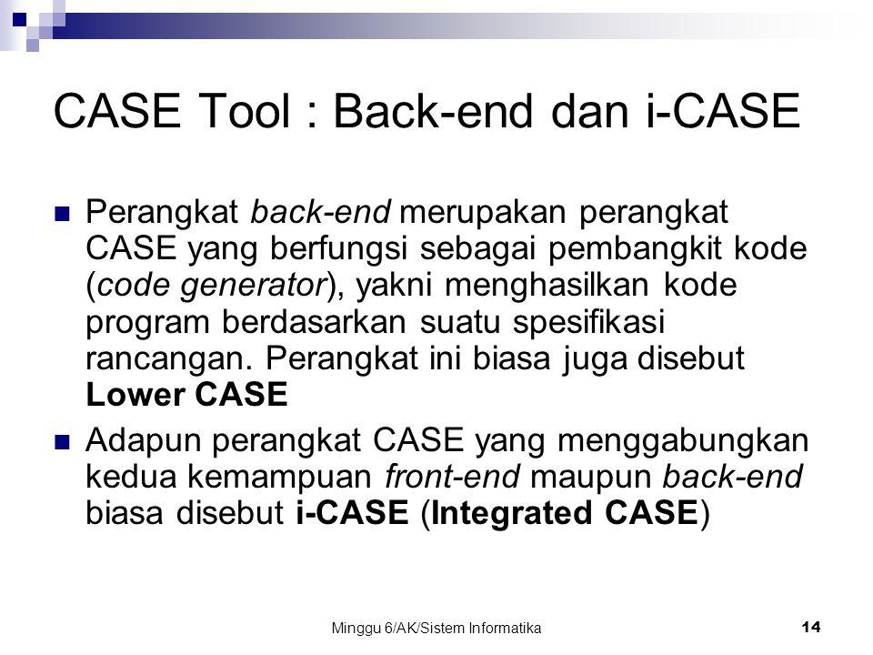 Minggu 6/AK/Sistem Informatika14 CASE Tool : Back-end dan i-CASE Perangkat back-end merupakan perangkat CASE yang berfungsi sebagai pembangkit kode (c
