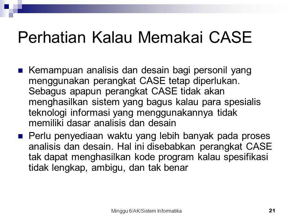 Minggu 6/AK/Sistem Informatika21 Perhatian Kalau Memakai CASE Kemampuan analisis dan desain bagi personil yang menggunakan perangkat CASE tetap diperl