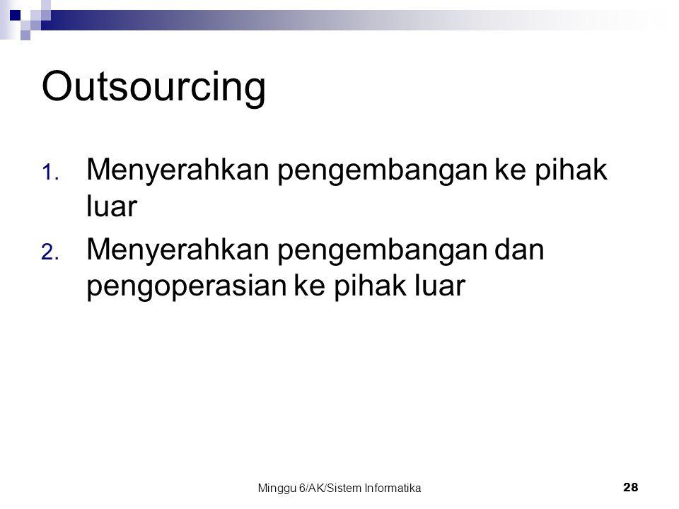 Minggu 6/AK/Sistem Informatika28 Outsourcing 1. Menyerahkan pengembangan ke pihak luar 2. Menyerahkan pengembangan dan pengoperasian ke pihak luar