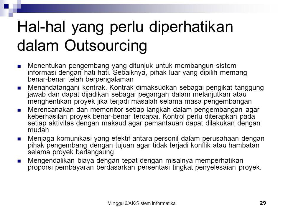 Minggu 6/AK/Sistem Informatika29 Hal-hal yang perlu diperhatikan dalam Outsourcing Menentukan pengembang yang ditunjuk untuk membangun sistem informas