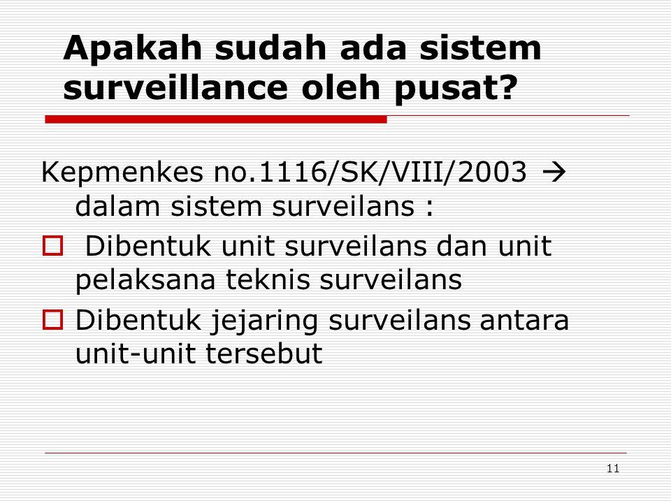 Kepmenkes no.1116/SK/VIII/2003  dalam sistem surveilans :  Dibentuk unit surveilans dan unit pelaksana teknis surveilans  Dibentuk jejaring surveil