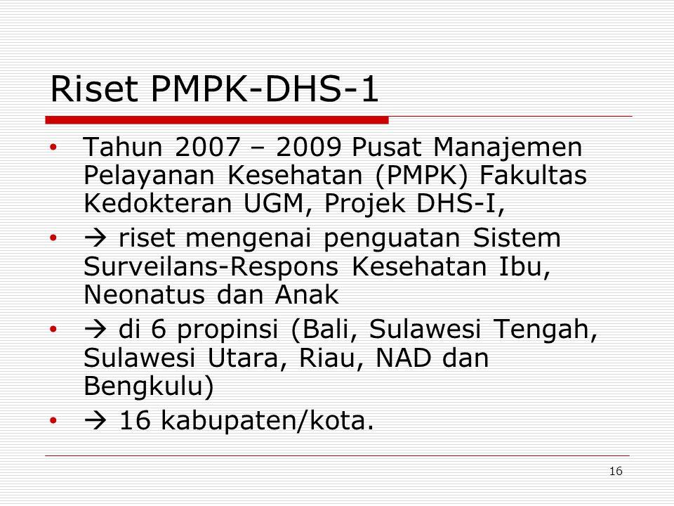 Riset PMPK-DHS-1 Tahun 2007 – 2009 Pusat Manajemen Pelayanan Kesehatan (PMPK) Fakultas Kedokteran UGM, Projek DHS-I,  riset mengenai penguatan Sistem