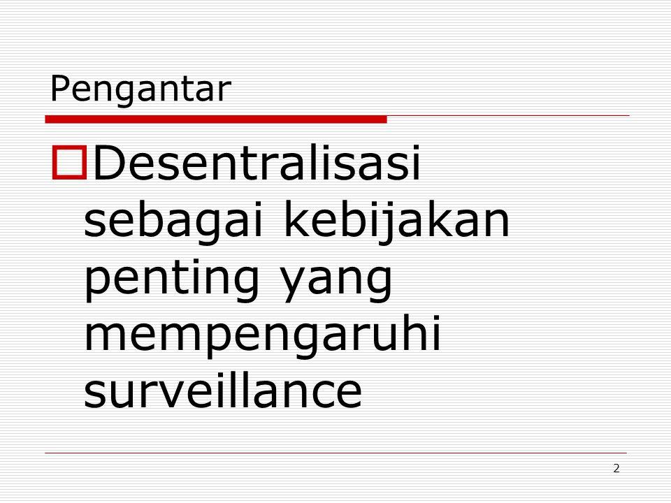 Kelemahan: Daerah tidak melakukan surveillance secara maksimal  Propinsi  Kabupaten  Pusat Surveillance Program KIASurveillance Program TBSurveillance Program GiziSurveillance Program....dll Laporan tercerai berai.