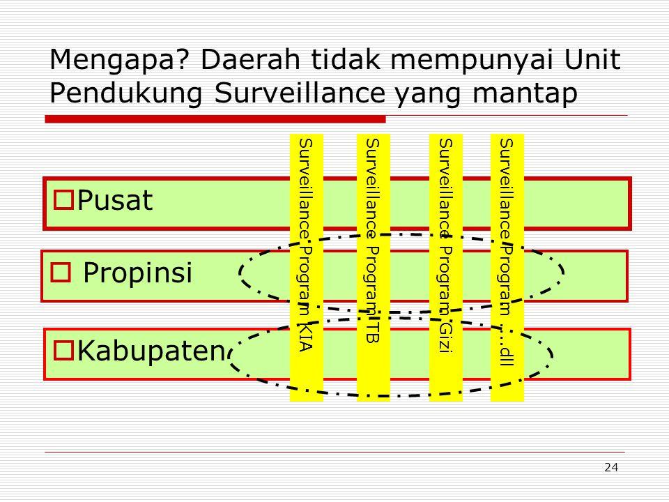 Mengapa? Daerah tidak mempunyai Unit Pendukung Surveillance yang mantap  Propinsi  Kabupaten  Pusat Surveillance Program KIASurveillance Program TB