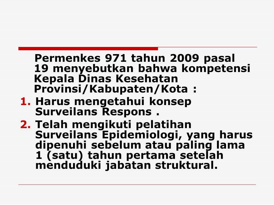 Permenkes 971 tahun 2009 pasal 19 menyebutkan bahwa kompetensi Kepala Dinas Kesehatan Provinsi/Kabupaten/Kota : 1.Harus mengetahui konsep Surveilans R