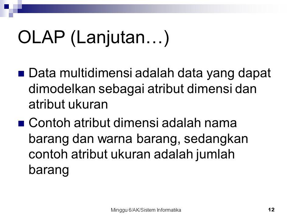 Minggu 6/AK/Sistem Informatika12 OLAP (Lanjutan…) Data multidimensi adalah data yang dapat dimodelkan sebagai atribut dimensi dan atribut ukuran Conto