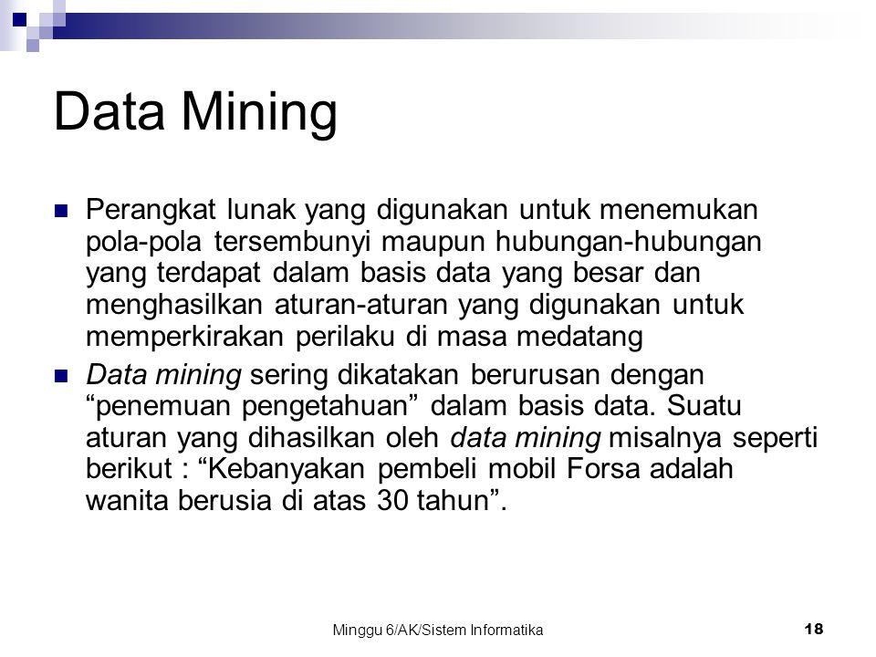 Minggu 6/AK/Sistem Informatika18 Data Mining Perangkat lunak yang digunakan untuk menemukan pola-pola tersembunyi maupun hubungan-hubungan yang terdap
