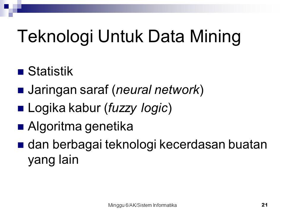 Minggu 6/AK/Sistem Informatika21 Teknologi Untuk Data Mining Statistik Jaringan saraf (neural network) Logika kabur (fuzzy logic) Algoritma genetika d