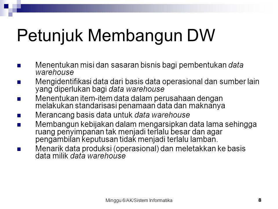Minggu 6/AK/Sistem Informatika8 Petunjuk Membangun DW Menentukan misi dan sasaran bisnis bagi pembentukan data warehouse Mengidentifikasi data dari ba