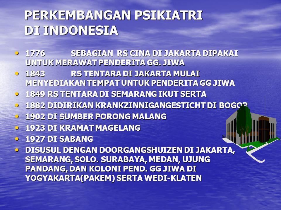 PERKEMBANGAN PSIKIATRI DI INDONESIA 1776SEBAGIAN RS CINA DI JAKARTA DIPAKAI UNTUK MERAWAT PENDERITA GG. JIWA 1776SEBAGIAN RS CINA DI JAKARTA DIPAKAI U