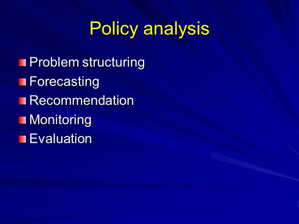 Policy analysis Problem structuring ForecastingRecommendationMonitoringEvaluation