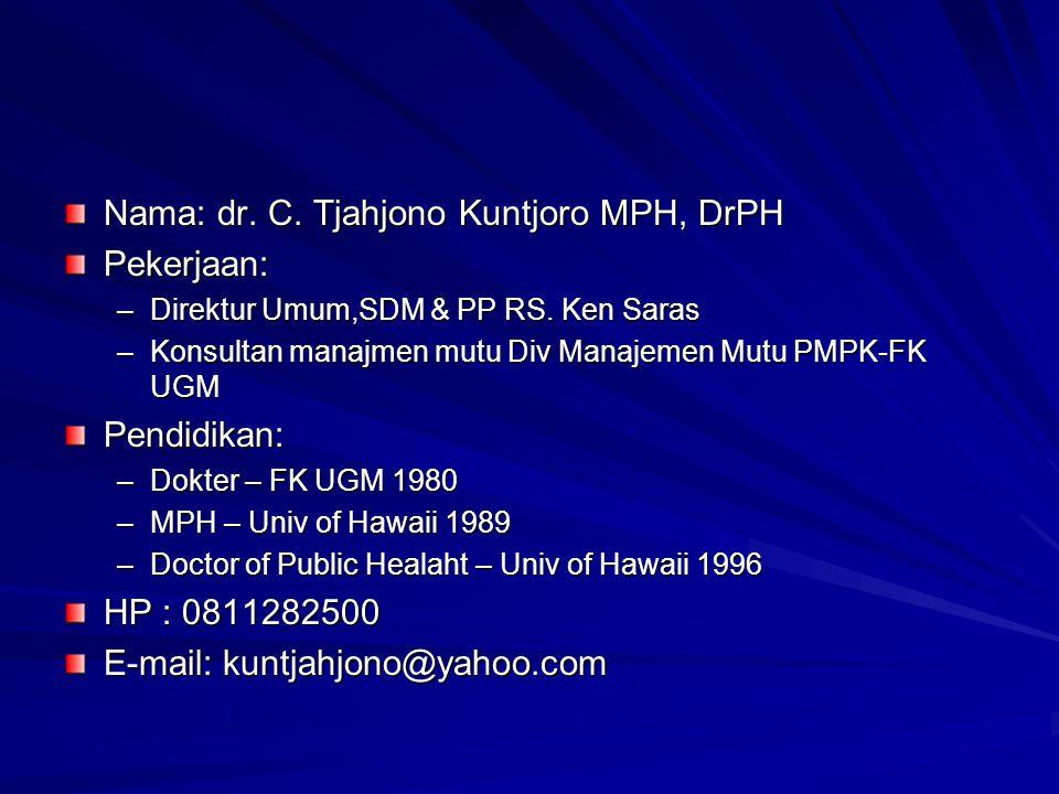 Nama: dr. C. Tjahjono Kuntjoro MPH, DrPH Pekerjaan: –Direktur Umum,SDM & PP RS. Ken Saras –Konsultan manajmen mutu Div Manajemen Mutu PMPK-FK UGM Pend