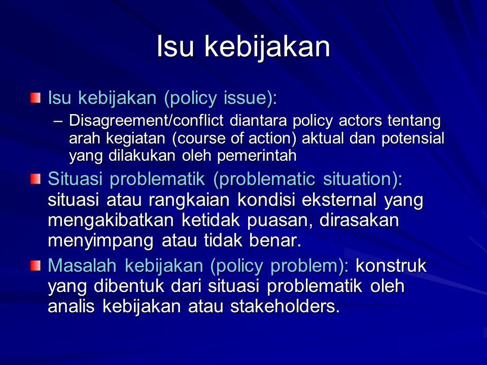 Isu kebijakan Isu kebijakan (policy issue): –Disagreement/conflict diantara policy actors tentang arah kegiatan (course of action) aktual dan potensia