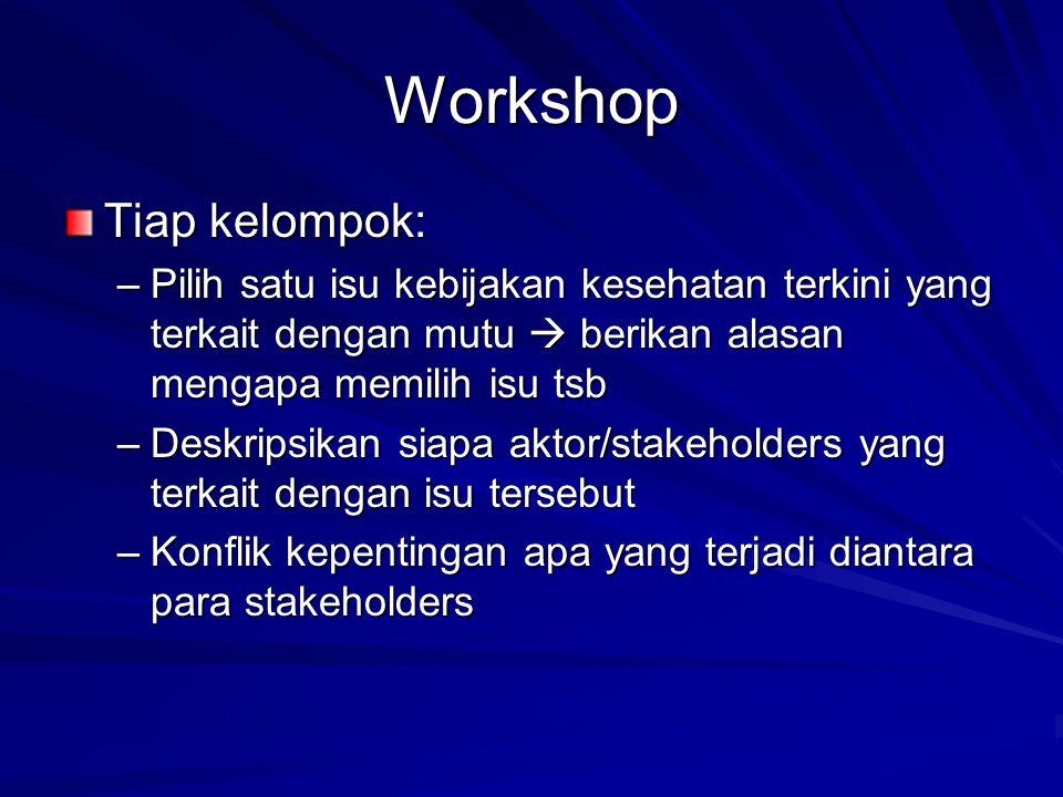 Workshop Tiap kelompok: –Pilih satu isu kebijakan kesehatan terkini yang terkait dengan mutu  berikan alasan mengapa memilih isu tsb –Deskripsikan si