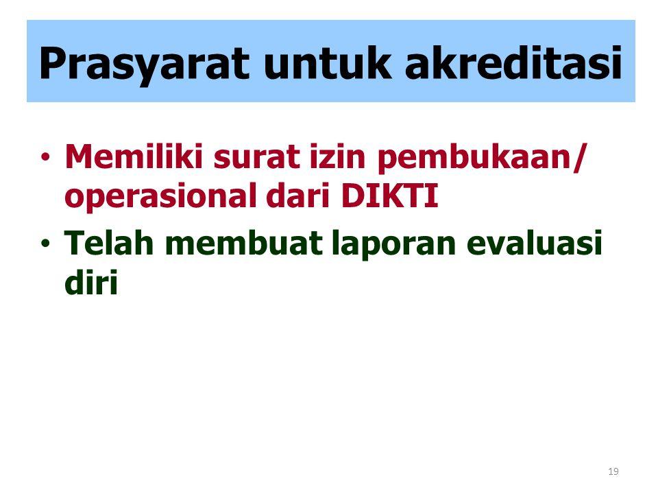 19 Prasyarat untuk akreditasi Memiliki surat izin pembukaan/ operasional dari DIKTI Telah membuat laporan evaluasi diri