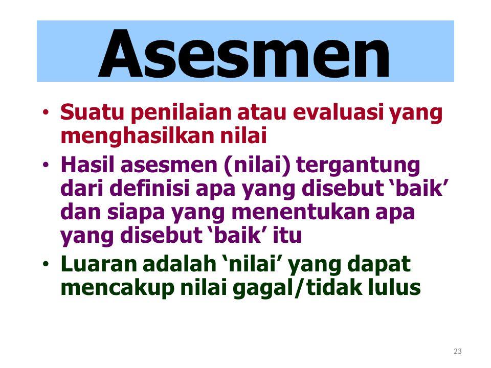 23 Asesmen Suatu penilaian atau evaluasi yang menghasilkan nilai Hasil asesmen (nilai) tergantung dari definisi apa yang disebut 'baik' dan siapa yang