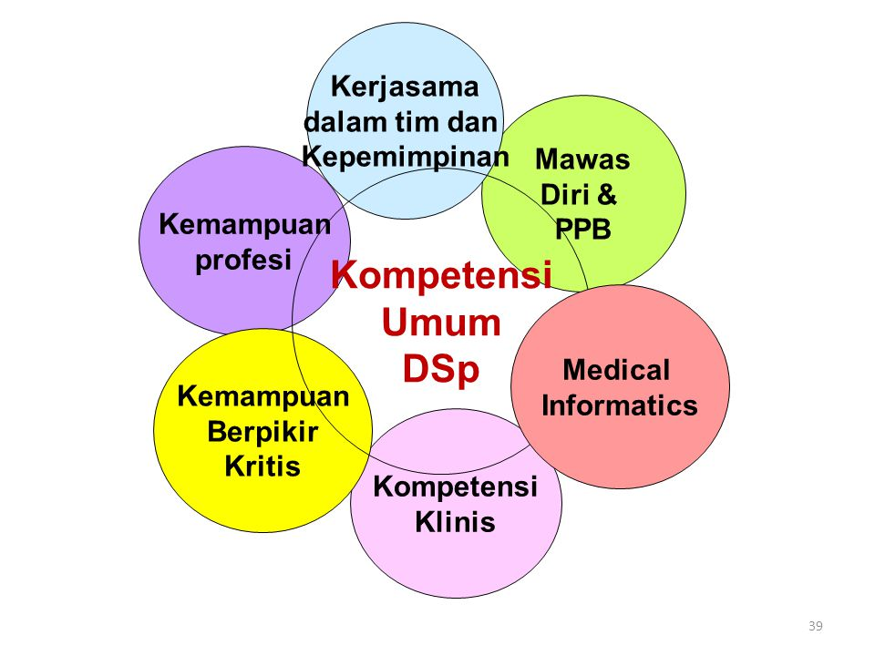 39 Kemampuan profesi Mawas Diri & PPB Kompetensi Klinis Kemampuan Berpikir Kritis Kerjasama dalam tim dan Kepemimpinan Kompetensi Umum DSp Medical Inf
