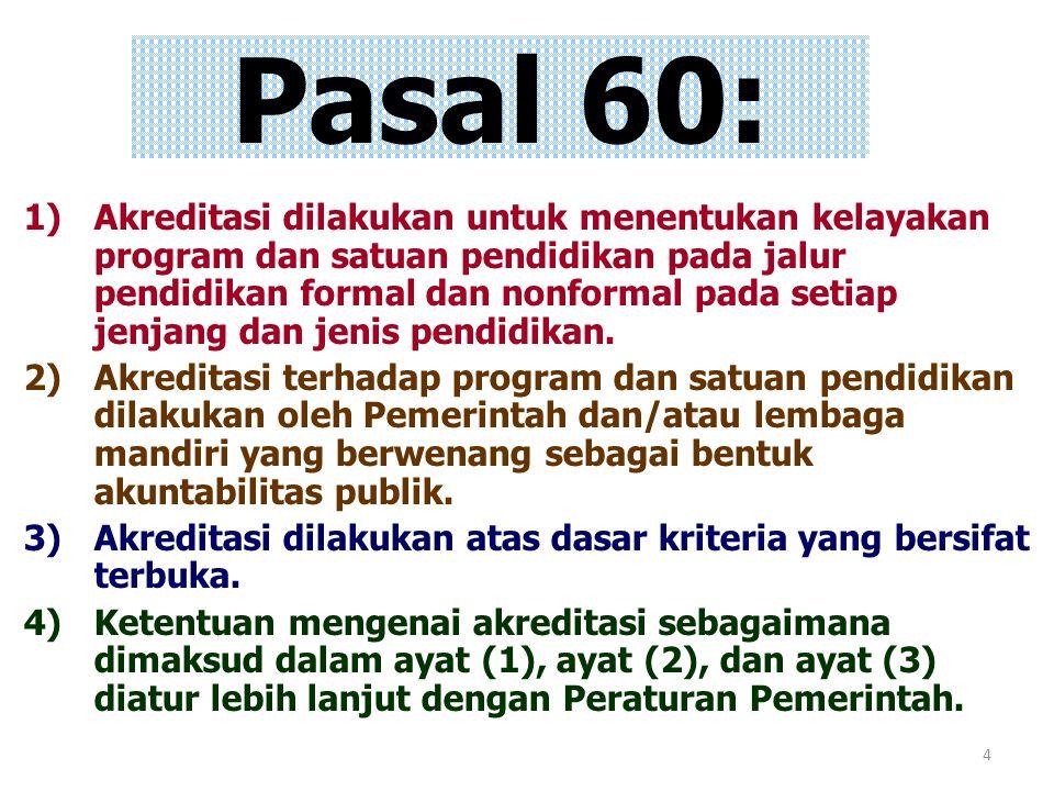 4 Pasal 60: 1)Akreditasi dilakukan untuk menentukan kelayakan program dan satuan pendidikan pada jalur pendidikan formal dan nonformal pada setiap jen