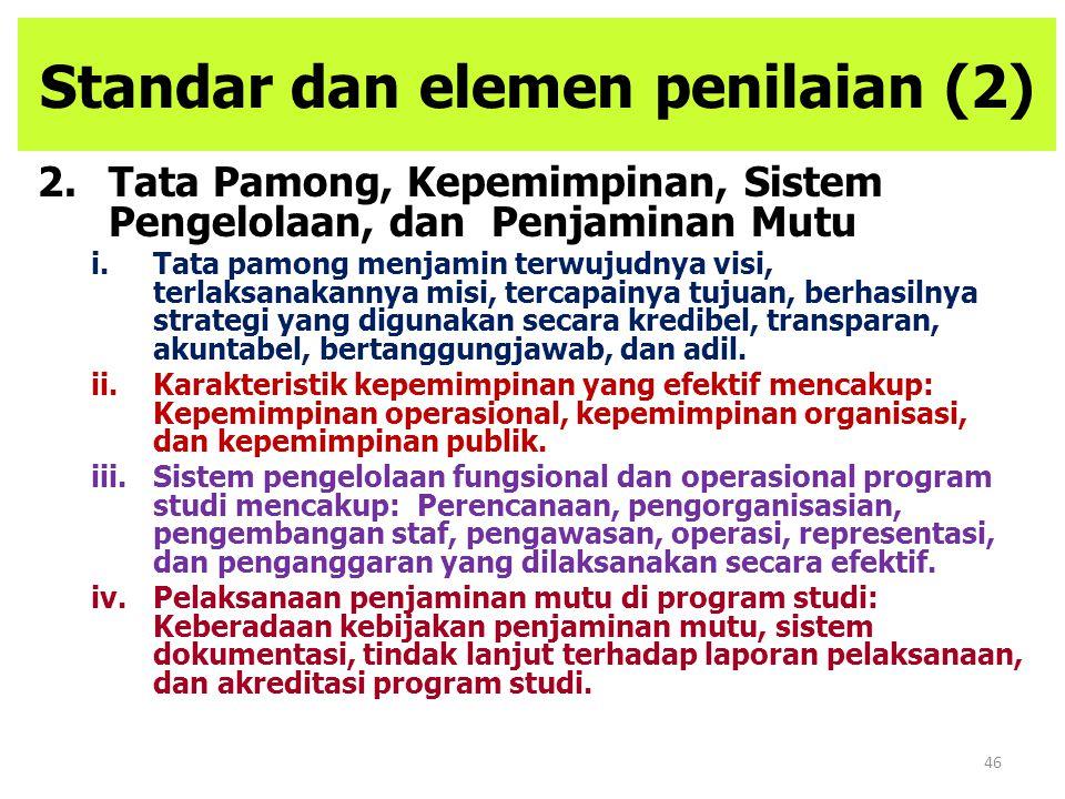 46 Standar dan elemen penilaian (2) 2.Tata Pamong, Kepemimpinan, Sistem Pengelolaan, dan Penjaminan Mutu i.Tata pamong menjamin terwujudnya visi, terl